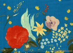 Blue Floral Japanese Double Gauze Cotton Fabric by Naomi Ito