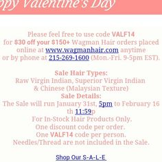 Our #vday #sale is going on now @ www.wagmanhair.com!