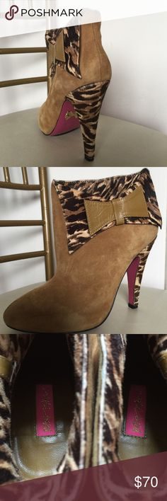 Leopard Bow Ankle Tan Boots Used. Like new. Betsey Johnson Shoes Ankle Boots & Booties