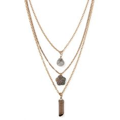 Forever 21 Faux Stone Layered Necklace ($6.90) ❤ liked on Polyvore featuring jewelry, necklaces, lobster claw charms, forever 21, chain necklaces, layered chain necklace and charm necklace