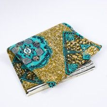 Spectra+Green+and+Nugget+Gold+Waxed+Cotton+African+Print+with+Gold+Metallic+Foil