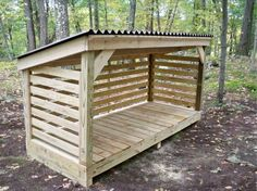 A basic, no-frills woodshed - http://media-cache-cd0.pinimg.com/originals/b3/03/ae/b303aea0b0c23a680bf0c5b57ce31ab9.jpg