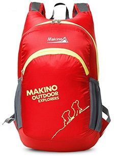Makino Ultralight Foldable Travel Backpack Outdoor Shoulders Bag 22L Red