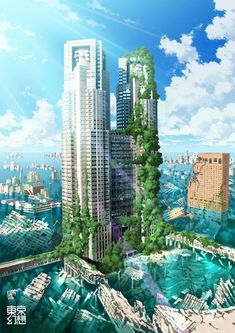 Almost Green | #cities The green is growing in the city. #green #future #art #arteverywhere #war #cyberpunk #cyberculture Fantasy City, Fantasy Places, Fantasy World, Fantasy Landscape, Landscape Art, Post Apocalyptic City, Apocalypse Art, Futuristic City, Fan Art