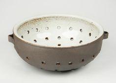 White Ceramic Berry Bowl Colander. Handmade by SheldonCeramics