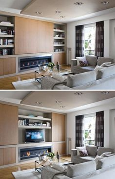 Salon bois blanc beige, meuble TV avec panneaux coulissants Source : Journal de … Beige white wood living room, TV cabinet with sliding panels Source: Home Journal Family Room, Home, Hide Tv Over Fireplace, Tv Wall Design, Condo Living Room, Solid Wood Dining Table, Living Furniture, Living Room Wood, Living Room Tv Wall