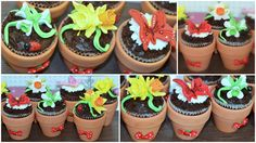 Mother`s Day sweet gifts. Flower fondant cupcakes in real mini pots