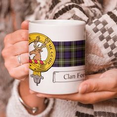 Ceramic coffee mug with clan crest - only from ScotClans. Solid mug with your chosen clan crest printed on using sublimation print. Printed by ScotClans in Edinburgh, Scotland.