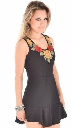 vestido  bordado mexicano modelagem fit and flare elastano