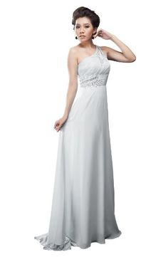 Moonar Chiffon One Shoulder Prom Formal Gown Full Length Party Bridemaid Dress White Size 10 $65