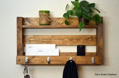 Rustic Entryway Organizer Keys Phone Mail by DansRusticCreations, $65.00