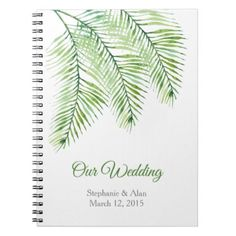 #TrendyGreen Palm Leaves Wedding Notebook - #bride gifts #bridal ideas unique personalize