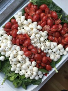 caprese salad for a crowd caprese salad for a crowd 1 large bag baby spinach 3 C fresh mozzarella pearls 2 C grape tomatoes, sliced lengthwise olive oil, for drizzling salt & pepper fresh or dried basil balsamic glaze or other italian dressing for parties Salads For A Crowd, Appetizers For A Crowd, Meals For A Crowd, Party Appetizers, Bbq Recipes For A Crowd, Desserts For A Crowd, Cooking For A Crowd, Food For A Crowd, Brunch Ideas For A Crowd