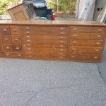 Old country store cabinetry - make for great kitchen islands. Loads of storage space! Original brass pulls