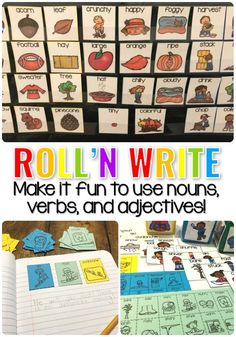 Roll 'N Write...A fun way to use Nouns, Verbs and adjectives in an Early Childhood Literacy Lesson.  #LanguageArts #EarlyChildhoodEducation
