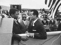 sidney poitier, harrry belafonte & bernard lee at civil rights rally