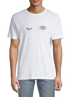 French Connection Usa Wink Tee In White Black French Connection, Short Sleeves, Mens Fashion, Pullover, Tees, Mens Tops, How To Wear, T Shirt, Clothes
