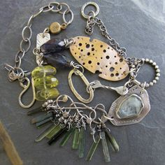 Sterling silver Charm NECKLACE Mixed Metals Wire Wrapped Gemstone beach inspired sea summer SEAWEED