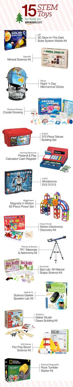 Science, Technology, Engineering, and Math toys are educational and exciting. These presents will encourage kids to learn STEM skills while having a lot of fun! http://www.amazon.com/b/?_encoding=UTF8&node=10054374011&tag=tsa030-20&ascsubtag=ptw-PIN-1-9-1447387813380bk&ref_=ptw_PIN_1_9_1447387813380bk