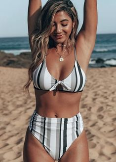 Enjoy the sunshine in this simple black, white and grey bikini set. The scoop front-knot bikini top has a black trim under the bust. The matching bikini bottoms are shirred at the hips. Bathing Suits For Teens, Summer Bathing Suits, Swimsuits For Teens, Tankini Swimsuits For Women, Cute Bathing Suits, Cute Swimsuits, Swimsuits For Curves, Swimsuits For Big Bust, Modest Swimsuits