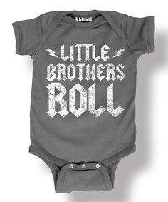 Charcoal 'Little Brothers Roll' Bodysuit - Infant by It's Just Me #zulily #zulilyfinds