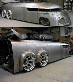 VW - Handmade 19' long Vw Bus  Powered by a Radical Custom Chopper Bike located in the back.