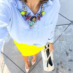 "I just love this blue hue and chartreuse combo Shop today's #ootd by registering your email with @liketoknow.it then either ""like"" this photo OR type this link into your browser // @liketoknow.it www.liketk.it/1F78Z #liketkit #whatiwore #worklook #sabbystyle #summer #jcrew #lookbook"