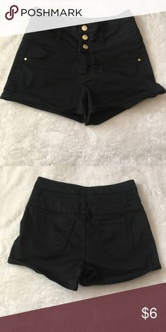 """Black High Waisted shorts This is a black pair of high waisted shorts from Charlotte Russe.  They have three buttons at the waist along with a zipper.  Approximately 13"""" waist, 10"""" crotch to waist, and 2.5"""" inseam.  no swaps! refuge Shorts"""