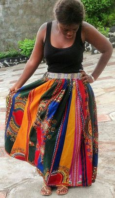 African Dashiki Patchwork Maxi Skirt African by MsAlabaAfricanShop African Dashiki, Vintage Marketplace, Summer Skirts, Clothing Items, Patchwork Skirts, Trending Outfits, My Style, Pretty, How To Wear