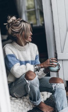 2019 Spring Women O Neck Striped Sweaters Loose Pullovers Sweaters Casual Knitted Sweater Jumper - My style - Look Fashion, Autumn Fashion, Fashion Outfits, Fashion Trends, Fashion Clothes, Womens Fashion, Elegance Fashion, Elegance Style, Ladies Fashion