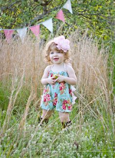 Shabby Chic Vintage inspired romper bubble sunsuit