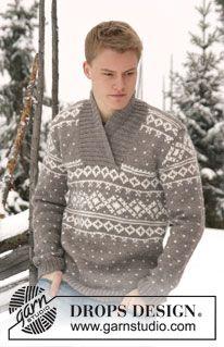 Knitting Patterns Men Drops Knitted Men& jumper with pattern and shawl collar in Alaska or Big Merino Fair Isle Knitting Patterns, Sweater Knitting Patterns, Free Knitting, Crochet Patterns, Diy Knitting Projects, Magazine Drops, Alaska, Drops Design, Collar Pattern