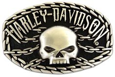 Harley-Davidson® Mens Collector Belt Buckle Skull Chain Motorcycle. M10074