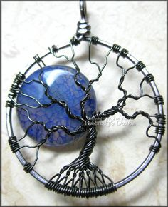 Fire Crackle Agate Blue Moon in Gunmetal Wire - JEWELRY AND TRINKETS