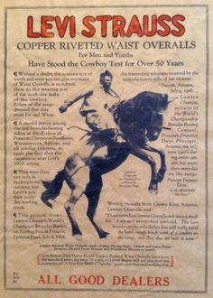 Levi Strauss vintage advertisement. Cowboy.
