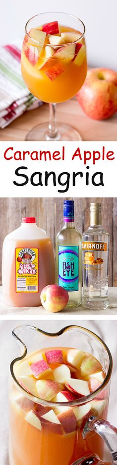 Caramel Apple Sangria - white wine, caramel vodka, apple cider, & chopped apples. The perfect #fall #cocktail
