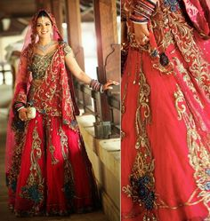 Red-Wedding-Lehenga-and-make-up-jewellery-for-Brides_5.jpg (907×960)
