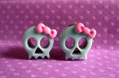 """Pair of Skull Plugs with Bows - Handmade Girly Gauges - 00g, 7/16"""" -  by WhimsyByKrista, $22.00 - Etsy"""
