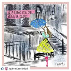New comic for @glamourmex  ☔☔ #Repost @glamourmexico・・・IF THE CITY IS GREY, WEAR COLORS!  ¡Al mal tiempo, actitud Glamourette! | Cómic by @fashcomofficial #happiness #colors #fashion #fashcom #illustration #fashioncomic #comic #dress #shoes #glitter #heels #fashionart #fashionillustration #bestoftheday #picoftheday #beautymodefashion #chic #glamour @glamourmex