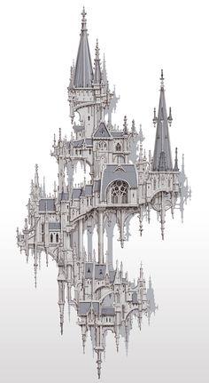 Fantasy City, Fantasy Castle, Fantasy Places, Fantasy World, Fantasy Art Landscapes, Fantasy Landscape, Fantasy Concept Art, Dark Fantasy Art, Castle Drawing