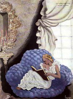 A Leitura, 1934 Georges Lepape ( França, 1887-1971) Capa para a revista: La femme chez elle