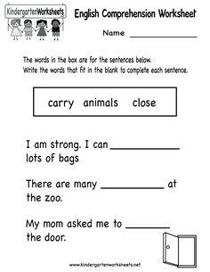 kindergarten english comprehension worksheet printable - Printable Fun Worksheets