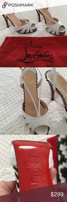 Christian Louboutin  black white heels 39 Very good authentic Christian Louboutin heels. Size 39. Vibram red sole protection. 4in 3/4 heel. 1 in platform. Normal wear to leather and soles. Dust bag included Christian Louboutin Shoes Heels
