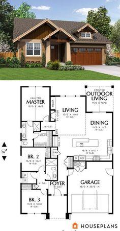 Nice floor plan!! 1500 sft cozy craftsman cottage plan. Houseplans plan # 48-598