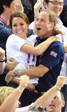 The Duke could not contain his excitement at the London 2012 Summer Games as he celebrated a win hugging his wife in the stands.   Photo: Pascal Le Segretain/Getty Images