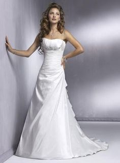 Spaghetti Straps Beaded Satin A-line/princess Simple Wedding Dress .