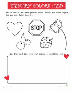 Things That are Red Worksheet (September's Color of the Month)