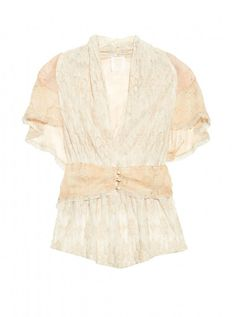 How To Dress For A Top Heavy Body Shape - Woman And Home - This Anna Sui cotton-blend lace and silk-chiffon top hits just the right style note, with buttons at the waist that stop to create a V neckline, a nipped-in middle for shape and flattering sleeves to hide bigger arms.