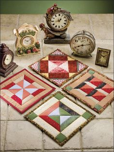 Time Will Tell Quilted Pot Holder Pattern / Use contrasting and complementary fabrics to create intriguing optical illusions in the designs of these four pieced pot holders. Skill Level: EASY
