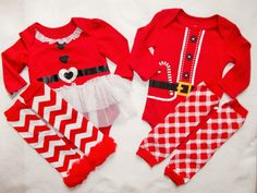 Christmas outfit Santa Baby shirt chevron ruffle leg warmer Boy girl First little man twins red white plaid onesie 3 6 9 12 toddler SALE by GinaBellas1 on Etsy
